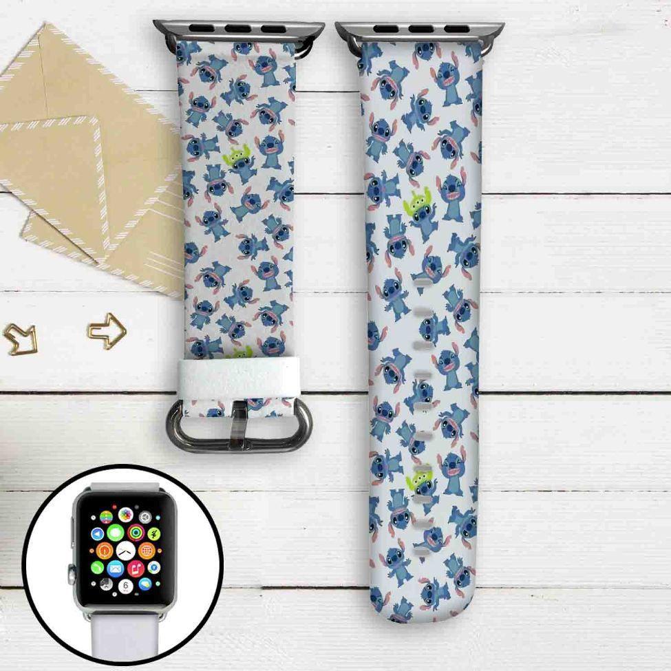 DIsney Stitch Collage Custom Apple Watch Band Leather ...