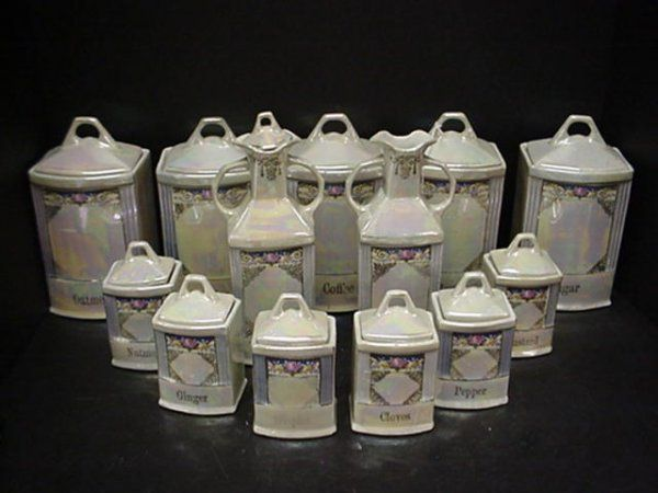 canister sets | 13: WHITE BLOCK Germany Lustre Canister Set: