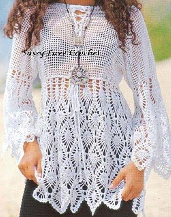 Crochet Boho Summer Tunic Beach Top Designer Crochet Top | projects ...