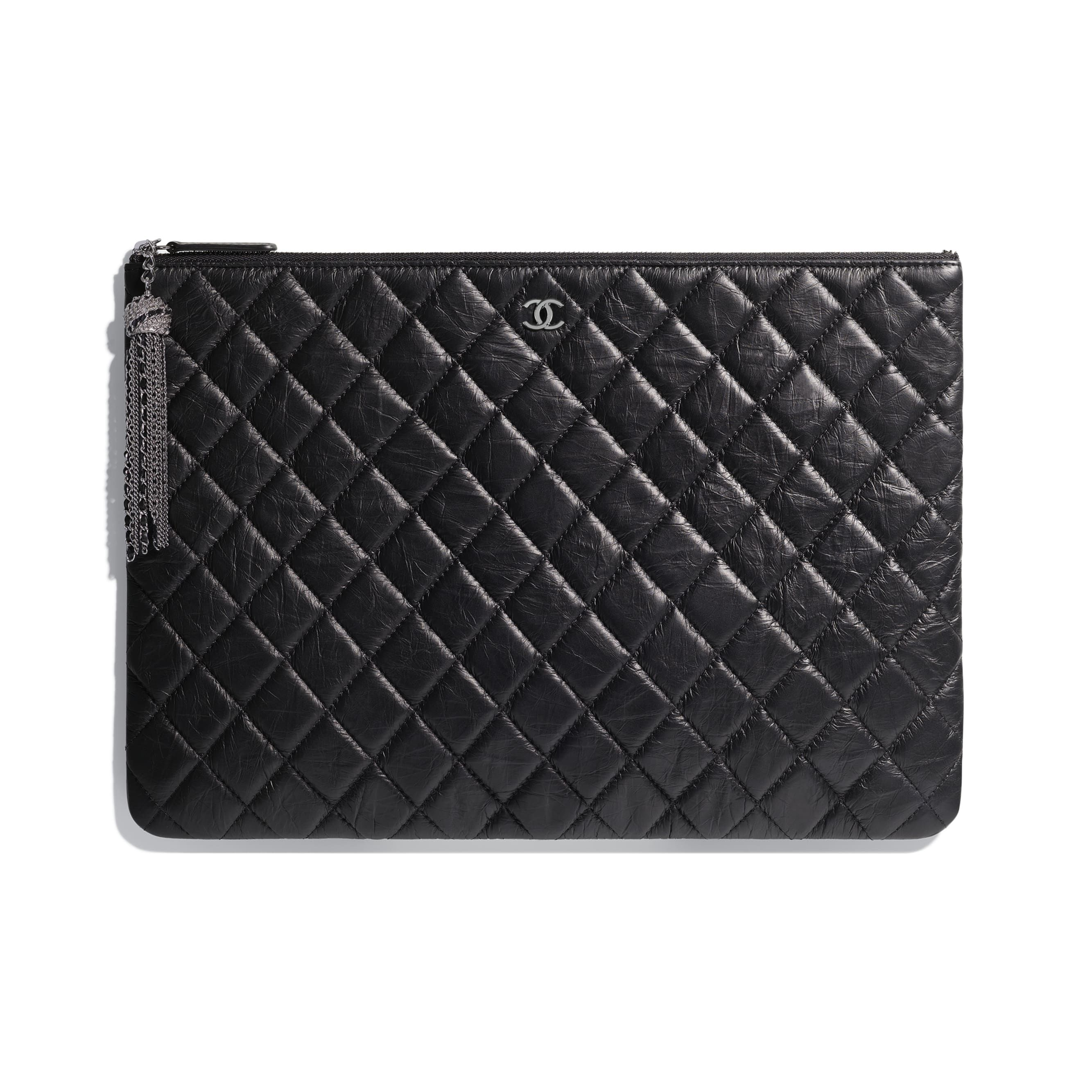d53c2188d530 Chanel - FW2018/19 | Iridescent aged calfskin & ruthenium-finish metal black  classic pouch ($1,800)