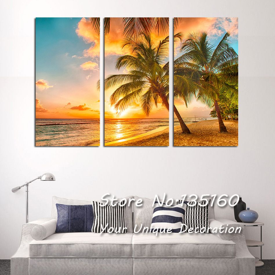 Beach Painting Picture Triple Paintings For Living Room Bedroom Sea Sunset Coconut Tree Wall Art Canvas Bedroom Wall Art Tree Wall Art Bedroom Art Painting
