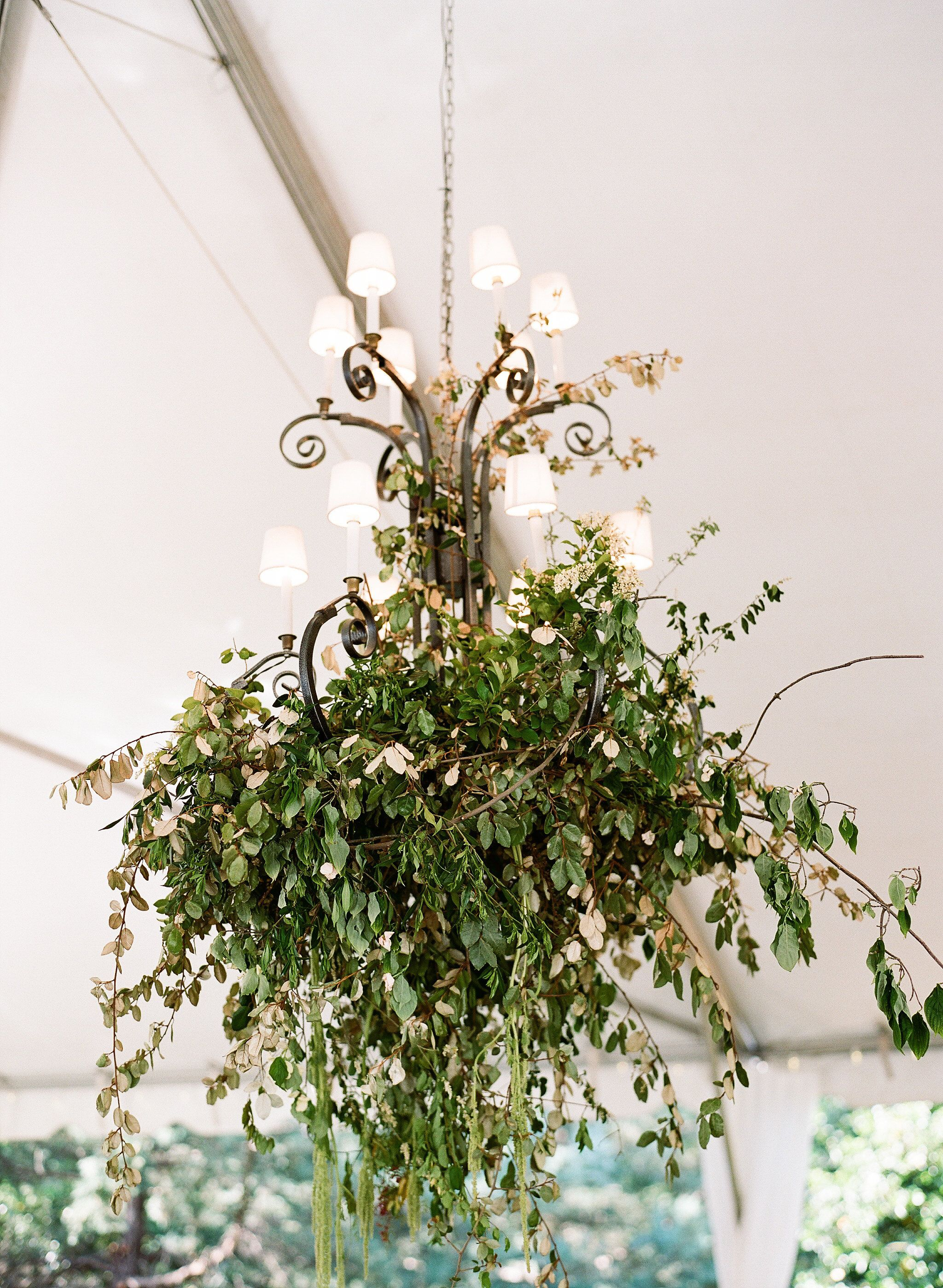 Elegant Modern Romantic Greenery Covered Tent Chandelier By Colonial House Of Flowers Wedding Chandelier Floral Chandelier Colonial House