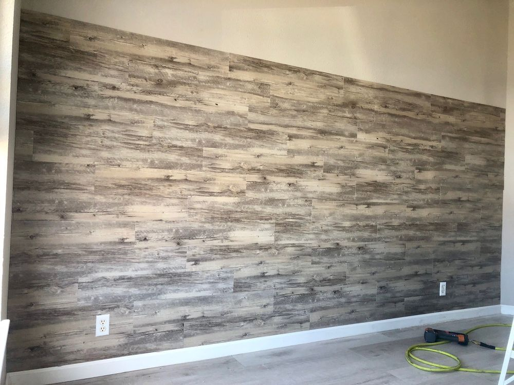 DIY Peel and Stick Vinyl Plank Accent Wall Plank wall