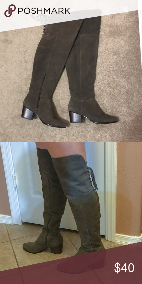 1b7391be31d Aldo Women s Jeffres Riding Boot Ladies mid heel over the knee boot with  inside half zip and laces detail in the back 100% Cow Suede Shaft measures  ...