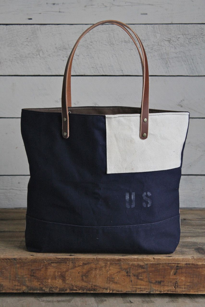 811935601586 Sturdy navy blue canvas salvaged from a WWII era USMC duffle bag has been  paired with WWII era US Navy sea bag canvas and reworked into a great every  day ...