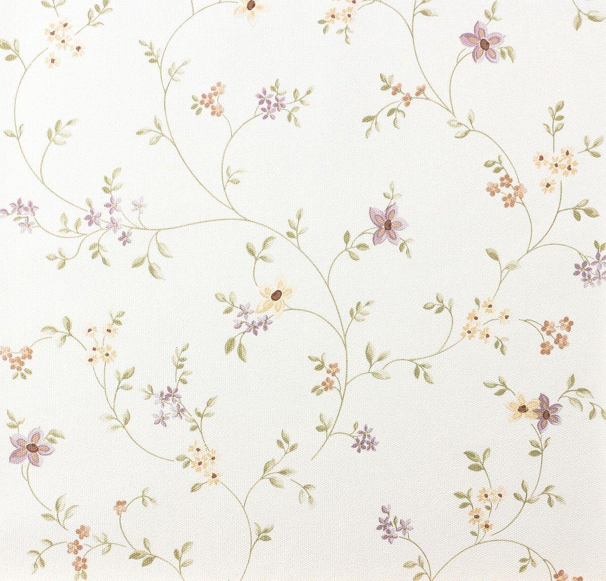 Landhaus Tapete Fleuri Pastel A.S. 93770 1 937701 Blumenranke Violett Grün  Weiß