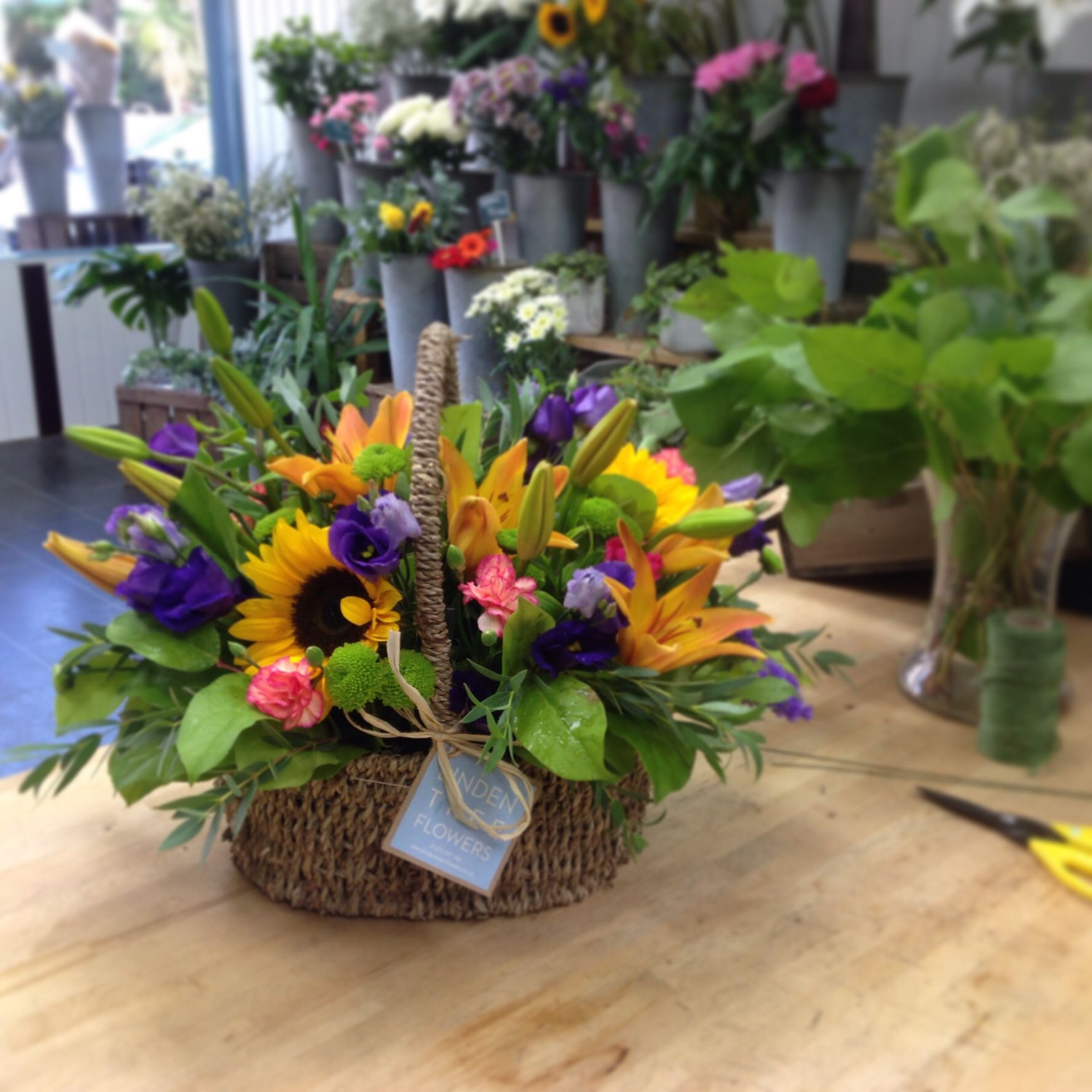 A fabulously colourful and vibrant basket arrangement including