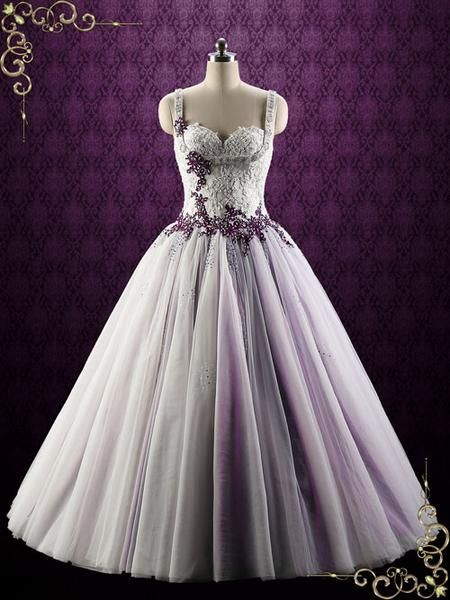Purple Lace Ball Gown Style Wedding Dress Violet