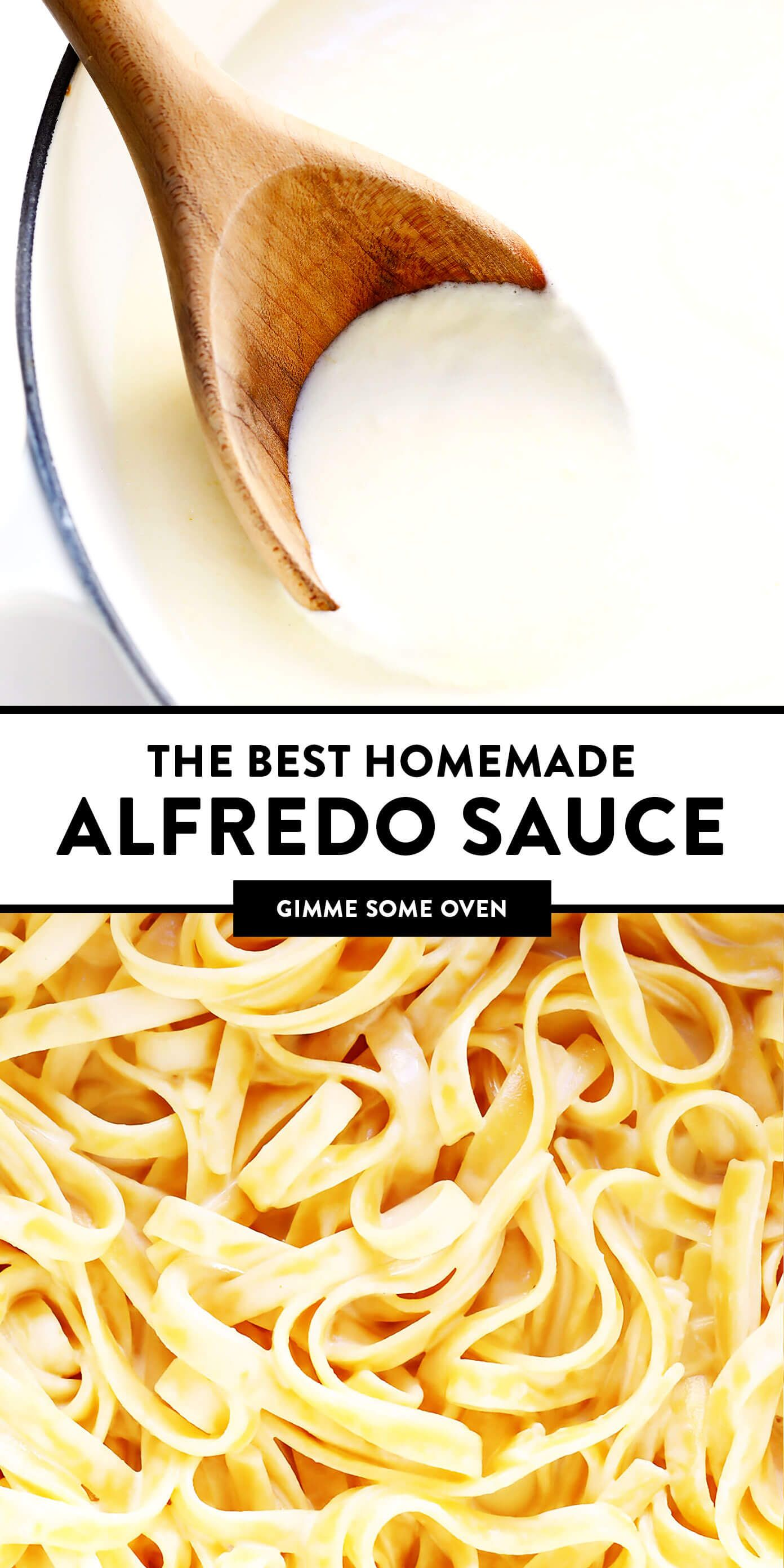 This homemade Alfredo sauce recipe is easy to make in 15 minutes and full of the best creamy, cheesy, garlicky flavors. Serve it with fettuccine pasta, chicken, shrimp, pizza, baked ziti, lasagna or whatever sounds good! | gimmesomeoven.com #alfredo #sauce #cream #cheese #italian #pasta #dinner #easy #vegetarian #mealprep