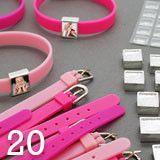 Pink Silicone Photo Slide Charm Bracelet Fundraiser Kit Makes 20 Complete Bracelets