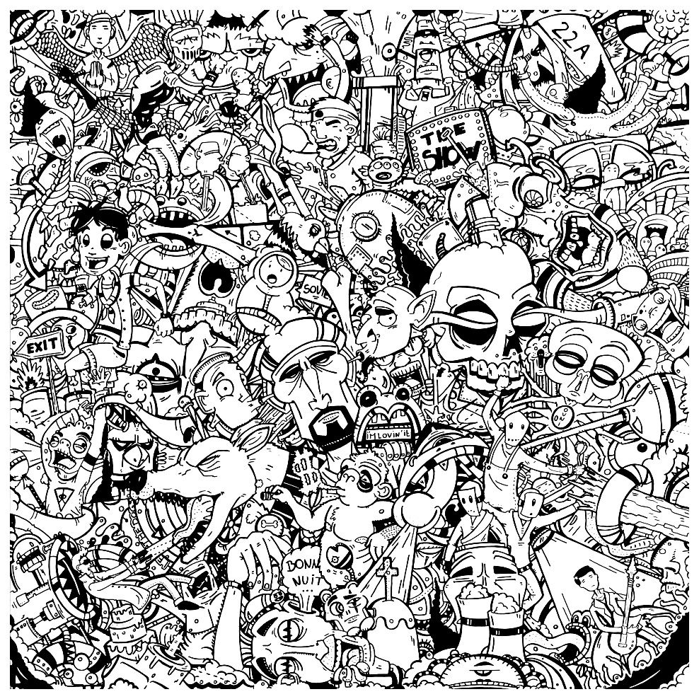 Free Coloring Page Coloring Adult Graffitis Characters Graffiti Coloring Page Difficult With A Multitude Of Characters And Face With Styles And Facial