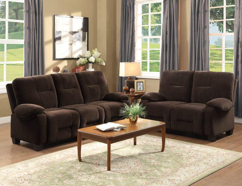 Modern Chocolate Microfiber Sofa Couch Loveseat Padded Tuft Living