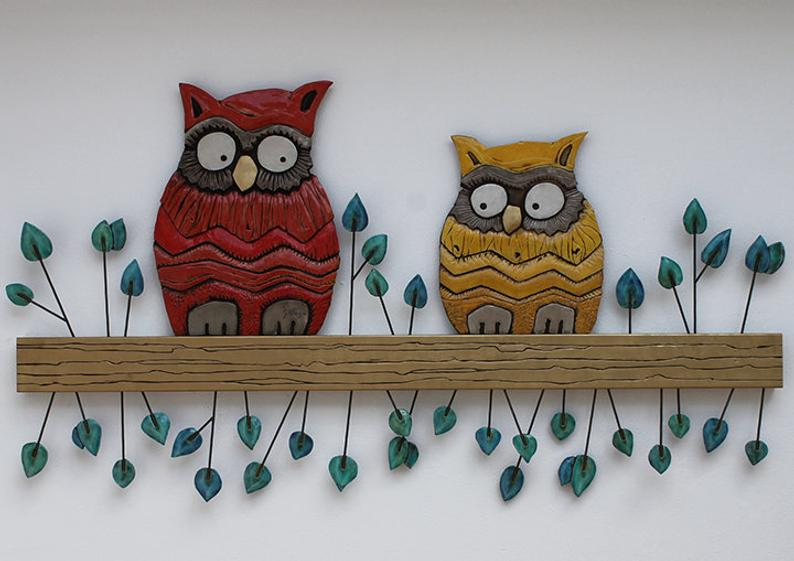 Large Owl Ceramic Wall Hanging Ceramic Wall Art With Owl Etsy In 2020 Owl Wall Art Ceramic Wall Art Ceramic Wall Decor