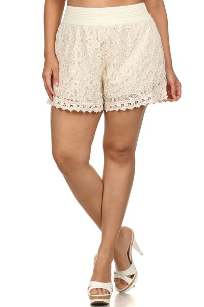 livin in lace lace shorts - plus size in black or ivory www