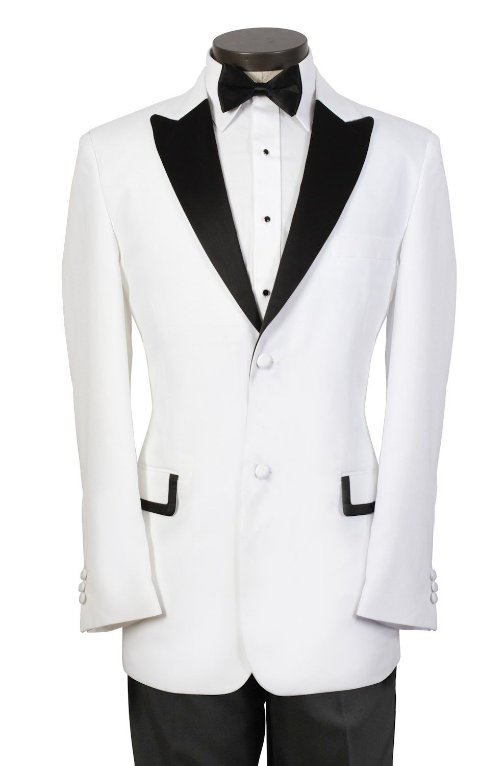 Custom Made Mens Prom Suits White Tuxedo with Black Peak Lapel and ...