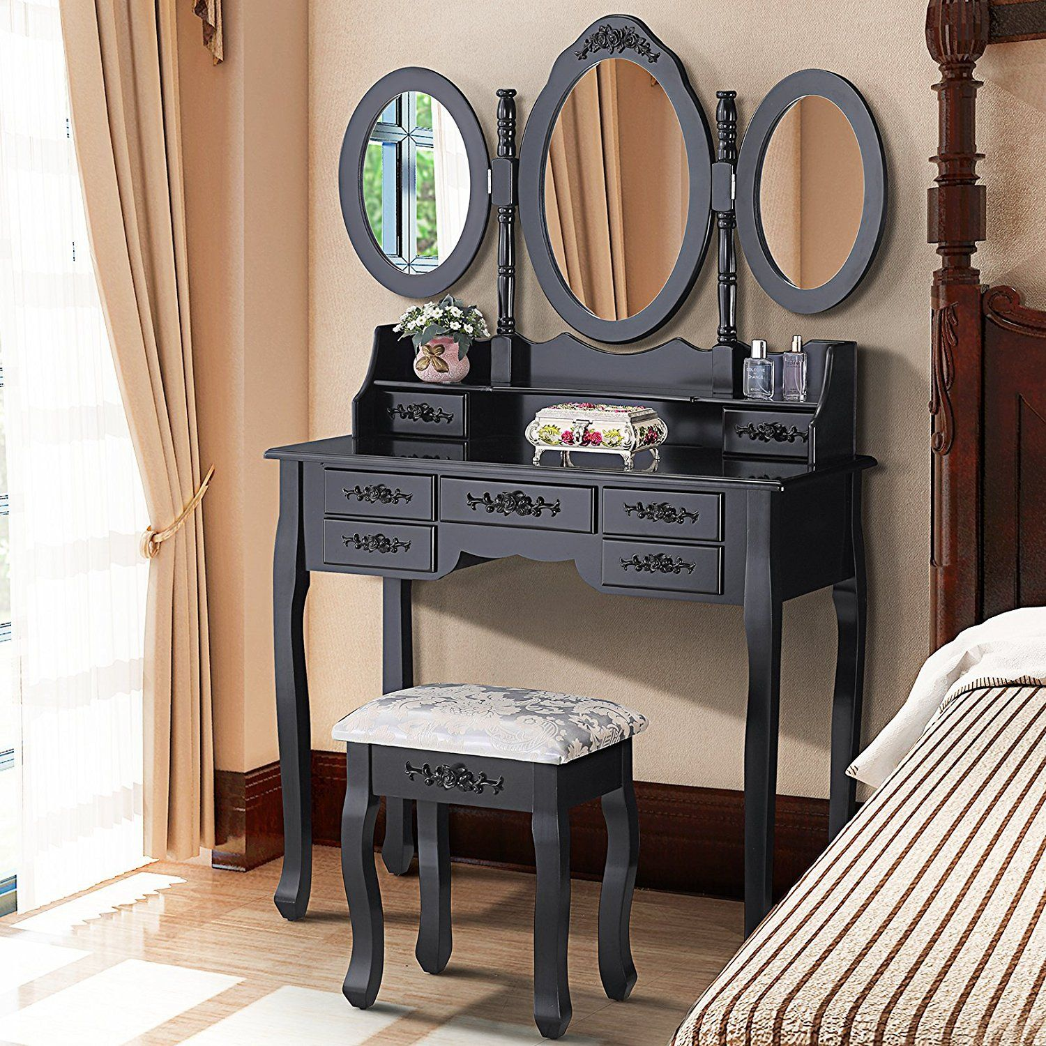 Mecor Vanity Table Set With Oval Mirror Makeup Dressing Table 7 Drawers And Cushioned Stool Black Dressing Table Vanity Vanity Table Set Mirrored Vanity Table