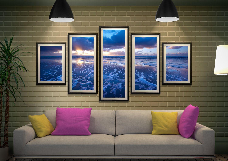 Blue reflections 5 piece art online blue horizon prints