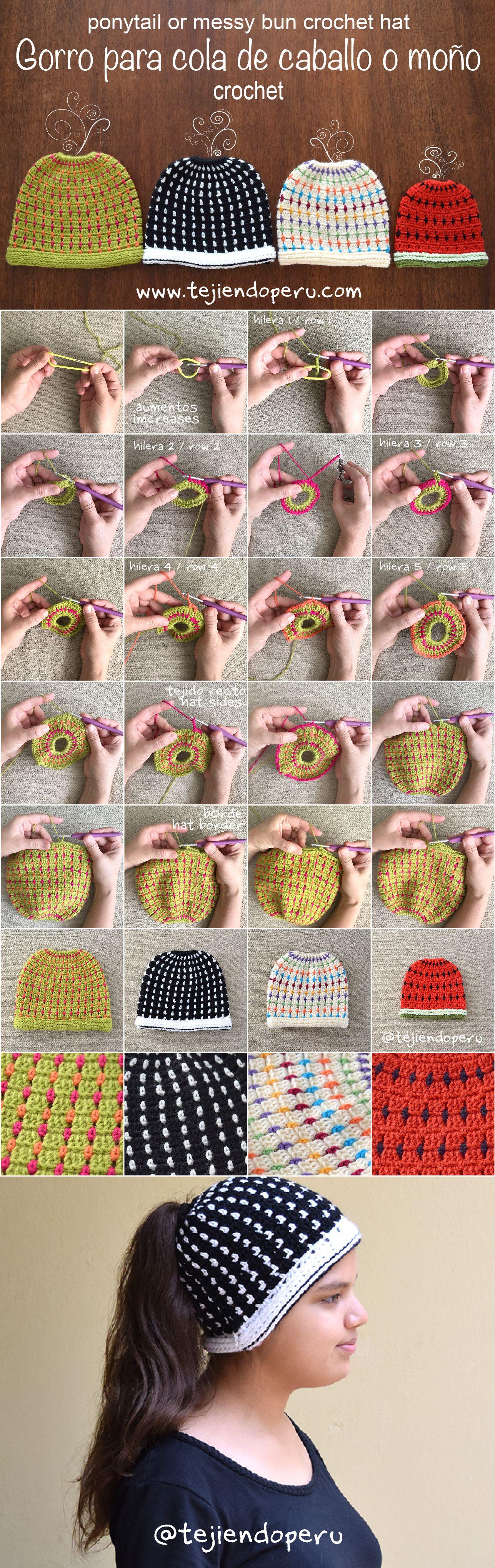 Crochet: gorro para cola de caballo o moño tejido a crochet en punto ...