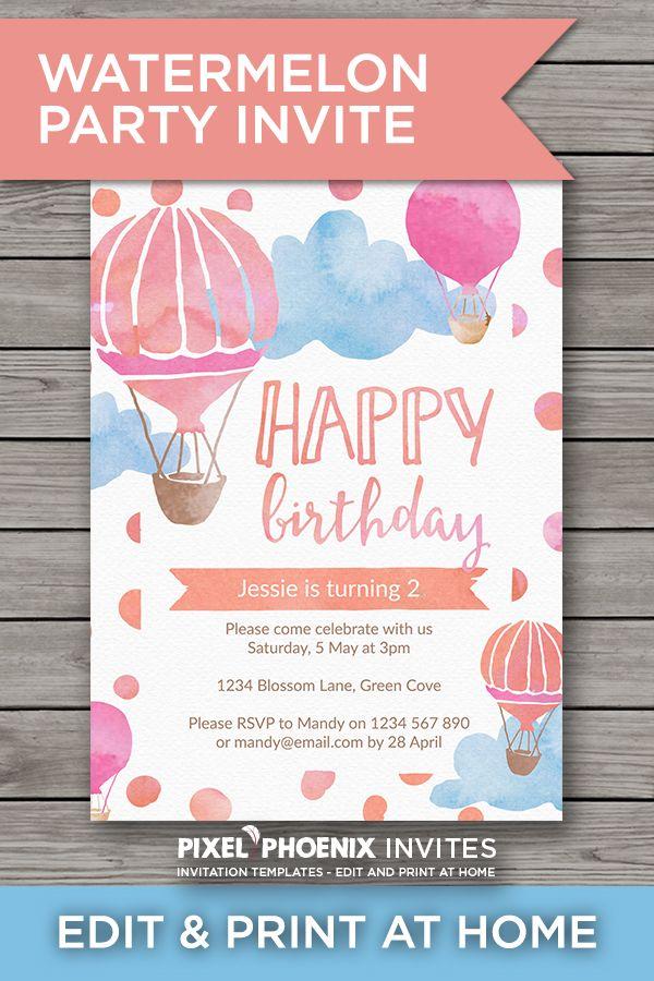Hot Air Balloon, Pink Party Invite, Girl\'s Birthday Invite, Girl ...