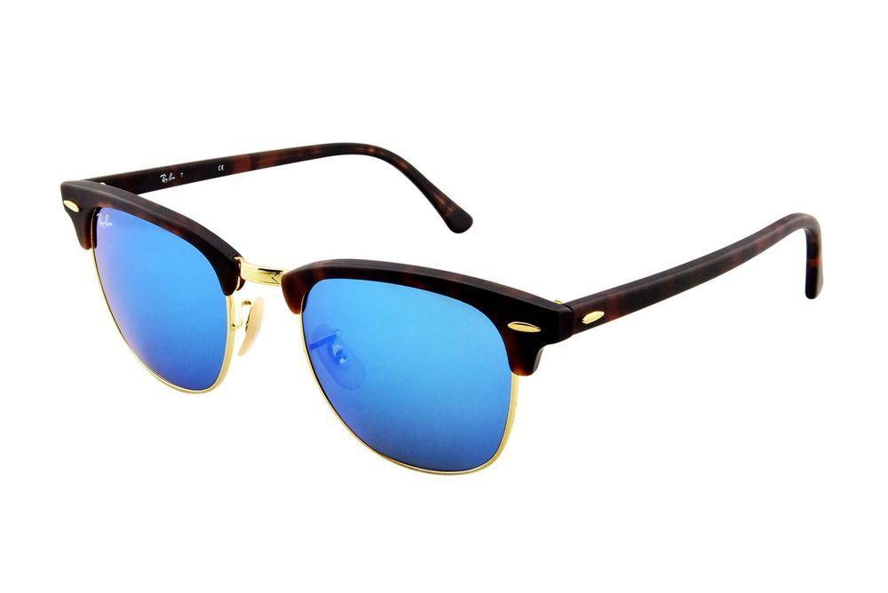 5636d57ac1 eBay  Sponsored Ray-Ban CLUBMASTER - SAND HAVANA GOLD Frame GREY MIRROR  BLUE Lenses 51mm Non-Pol