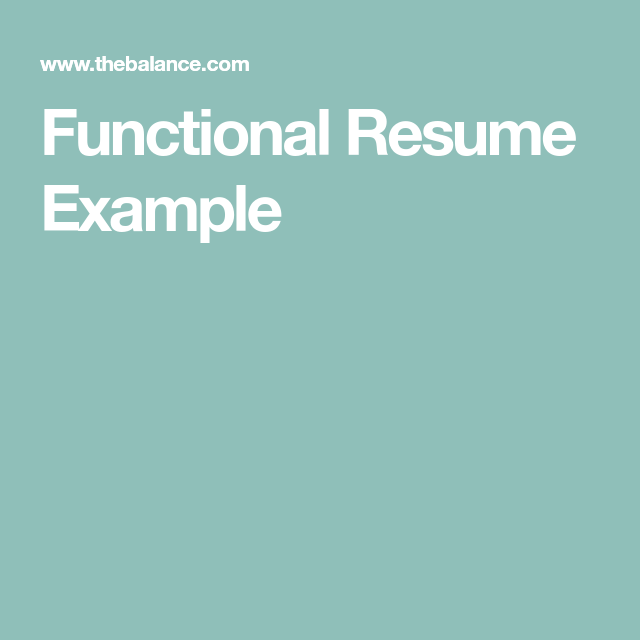 Functional Resume Example  Resume Examples    Resume