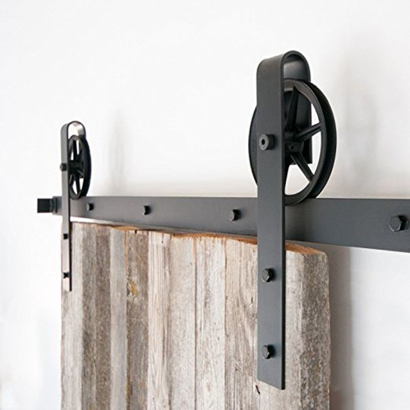 5 10ft Indoor Black Round Single Barn Door Wood Hardware Roller Track Big Wheel Antique Sliding Door Hard Sliding Barn Door Closet Barn Door Barn Door Hardware