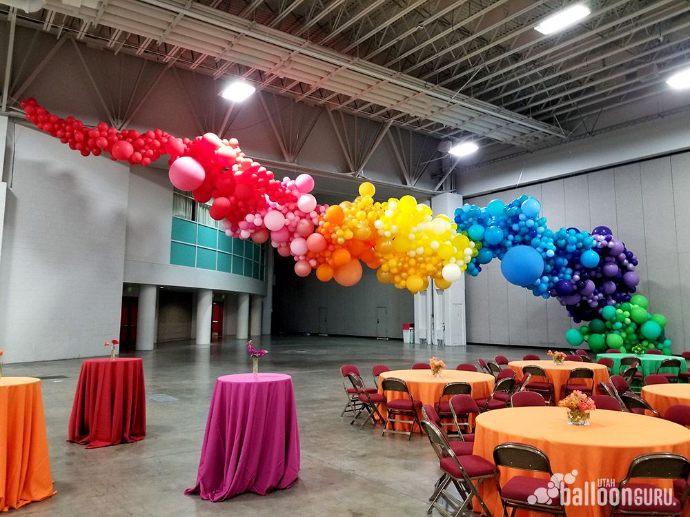 Organic Styled Balloon Decor With Images Rainbow Balloons