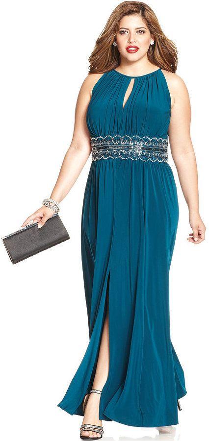 r&m richards plus size sleeveless beaded gown | plus size dresses