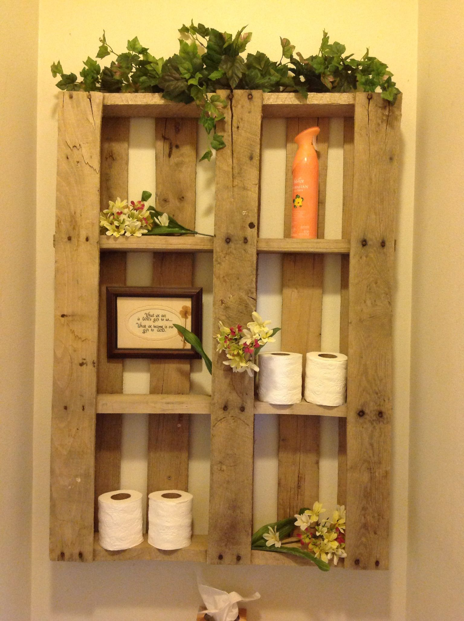 I saw the pallet shelf on here, so I made one for the bathroom in my utility room . Love it !!