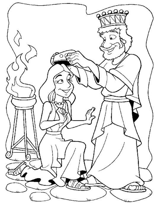 Esther coloring page | Sunday School (3-4yr) | Pinterest | Sunday ...