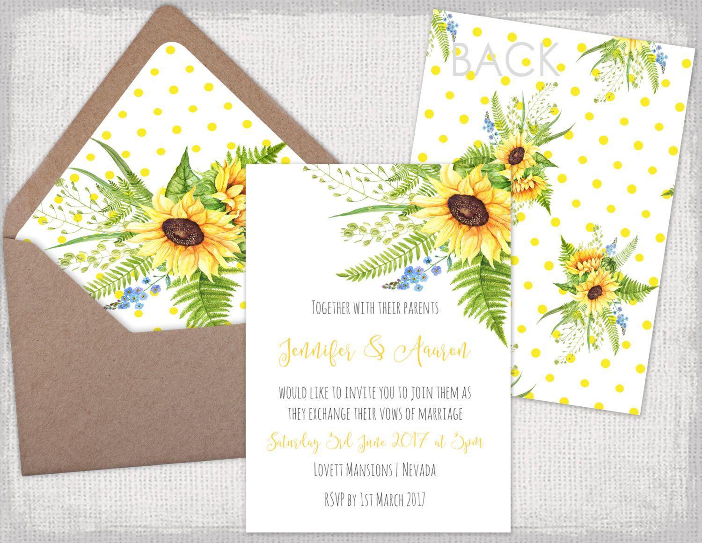 DIY Hochzeit Einladungen Vorlagen, Druckbare Gelb Toskana Sunflower  Einladungen Mit Einem Tupfen Und Sonnenblume Zurück