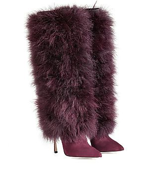 A statement-making choice in jewel-hued suede, these luxurious boots from Sergio Rossi feature a bold feather shaft #Stylebop