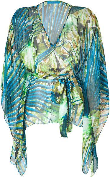 Jade Printed Silk Kimono Top - Lyst