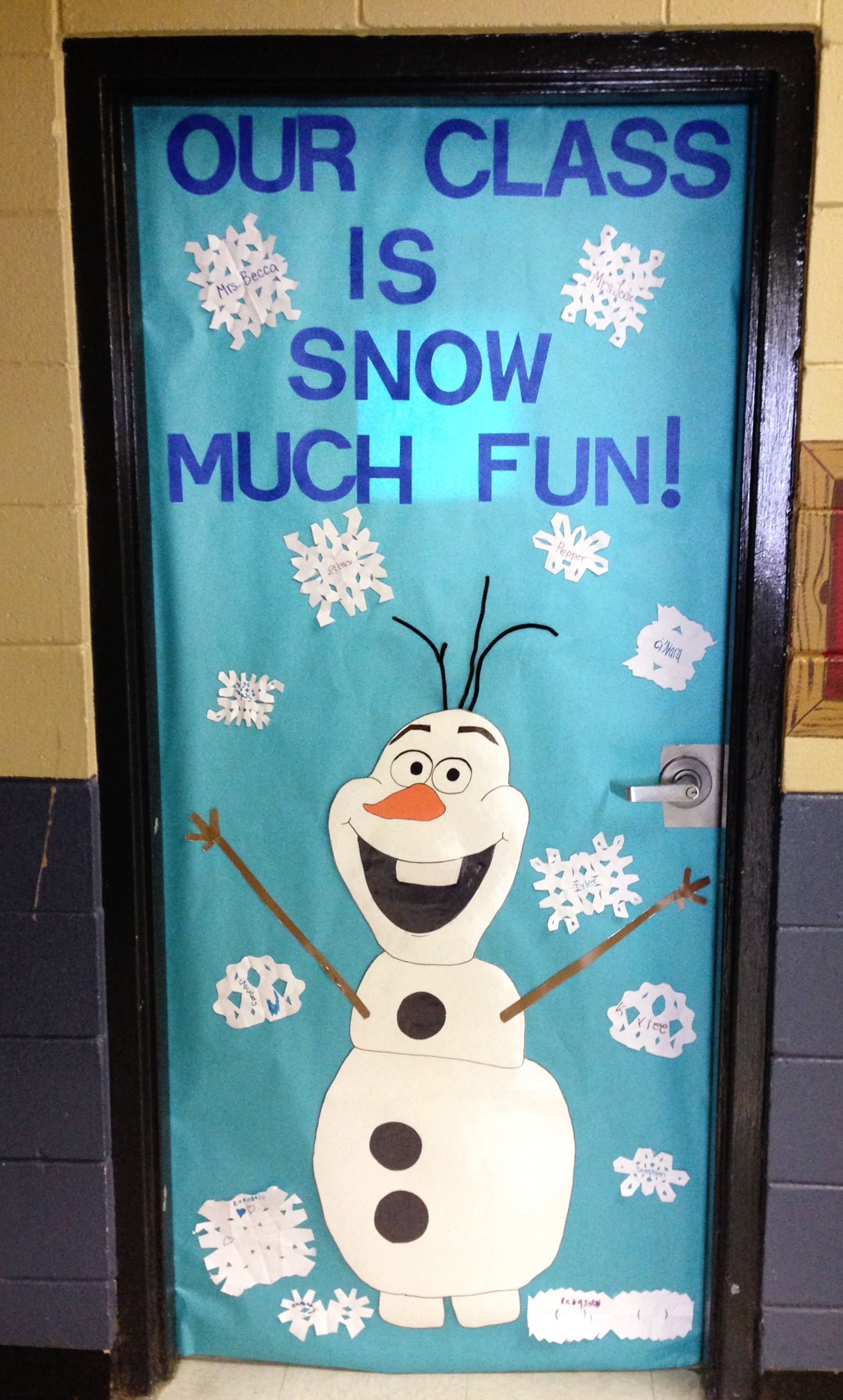 Classroom Winter Decor : Olaf classroom door frozen themed