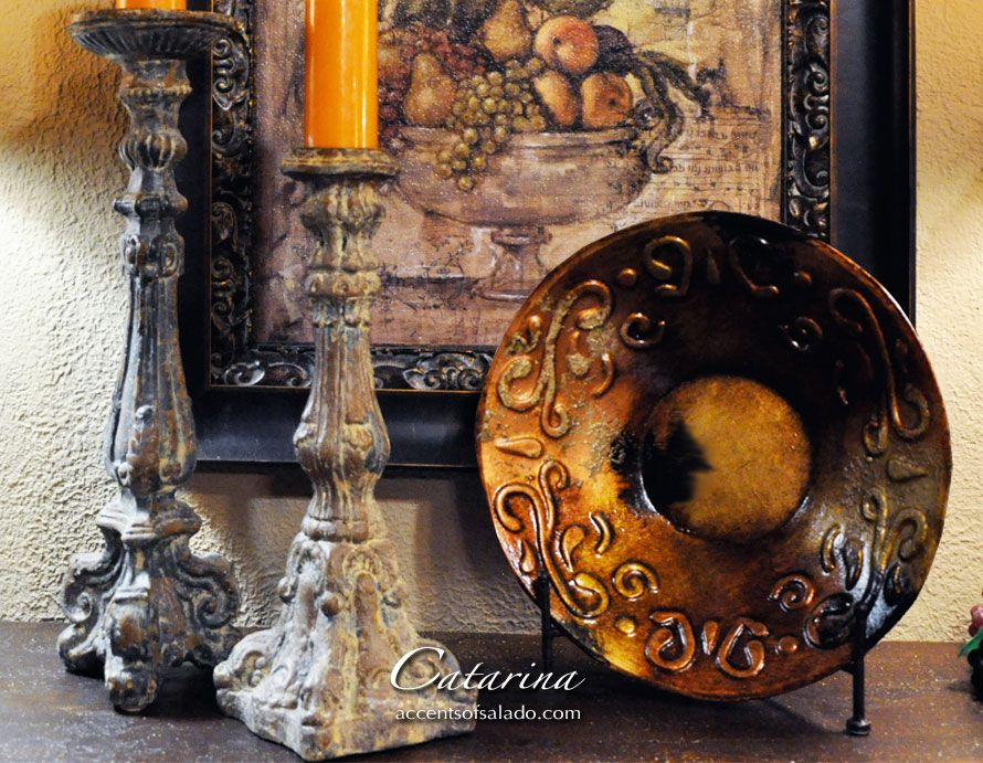 Catarina Large Decorative Bowl paired with rustic candle sticks ...