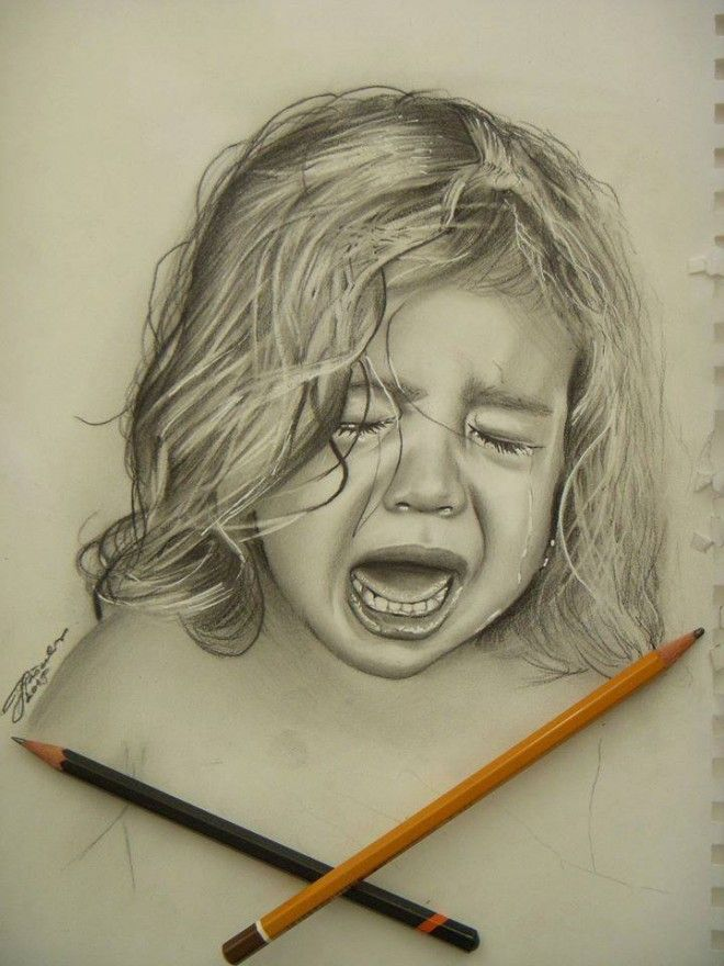 Girl crying realistic pencil drawing by josip art pašalić