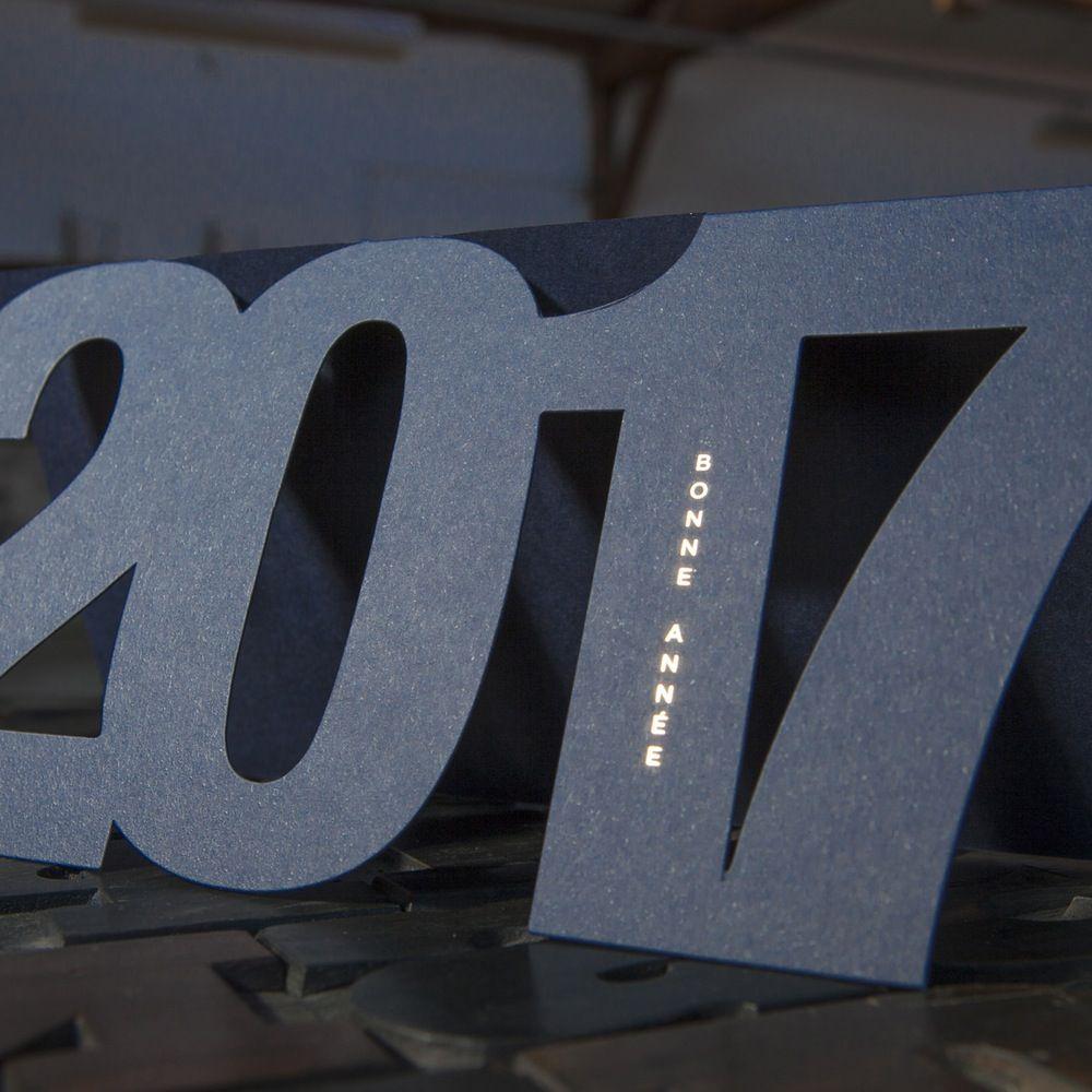 SILHOUETTE Voeux 2017 Bonne Annee Cartes De Carte Visite Couleur