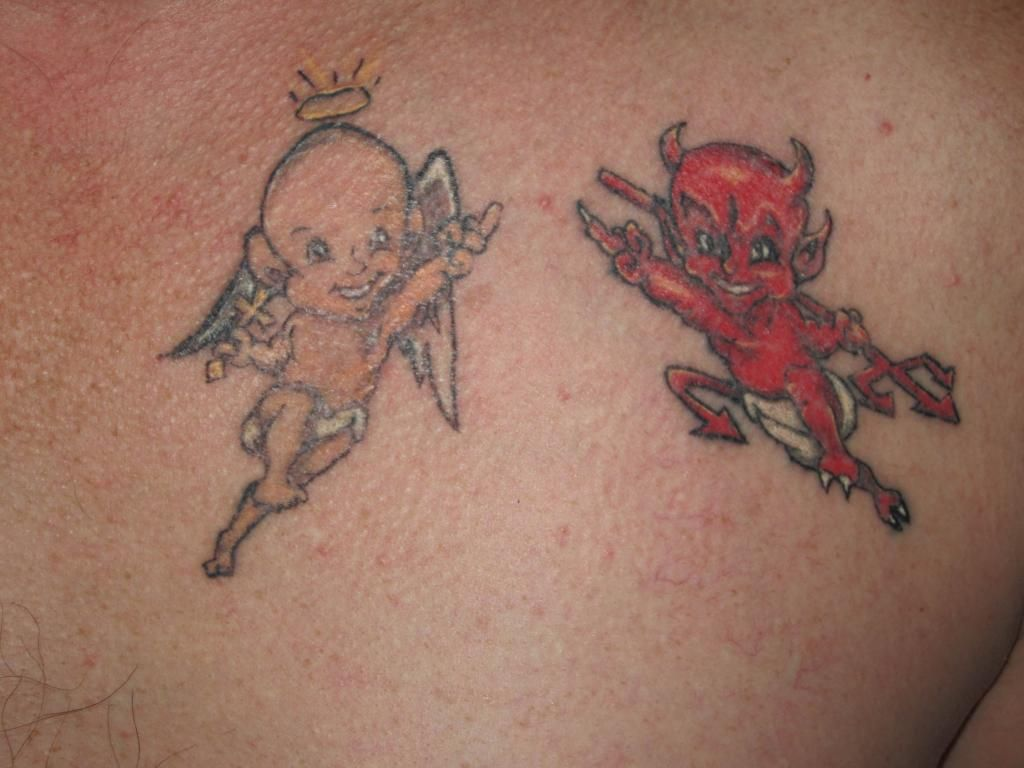 Good and bad angels tattoos