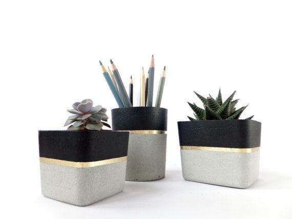 Platz Beton kleiner Übertopf für Sukkulenten grau weiß schwarz industriellen moderne Beton Home Decor #black