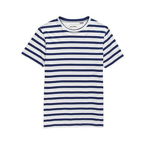 Ben Sherman Crew Neck Striped T-Shirt , Bright White