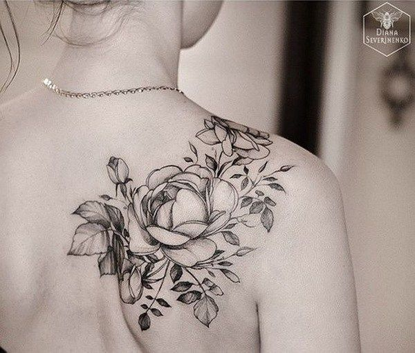 Black And White Rose Tattoo On Back Shoulder Arttattoos
