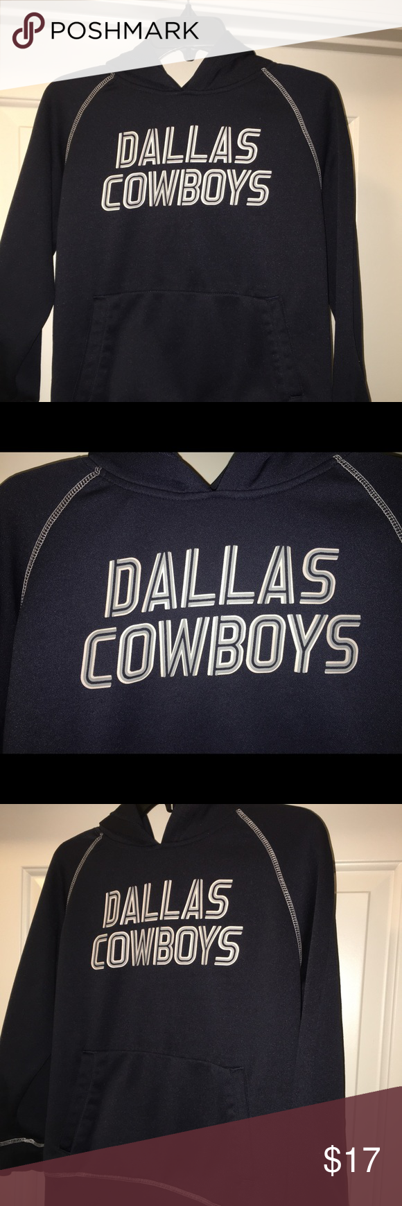 """Boys Dallas cowboy long sleeve hoodie sz: L Thank you for viewing my listing, for sale is a youth/kids, Dallas Cowboys Blue, longsleeve, hoodie.   Sz: L 16/18  From under one arm to under the other measures appx 20"""" from the top of the shoulder to the bottom of the Jersey measures appx 22"""" dallas cowboys Jackets & Coats"""