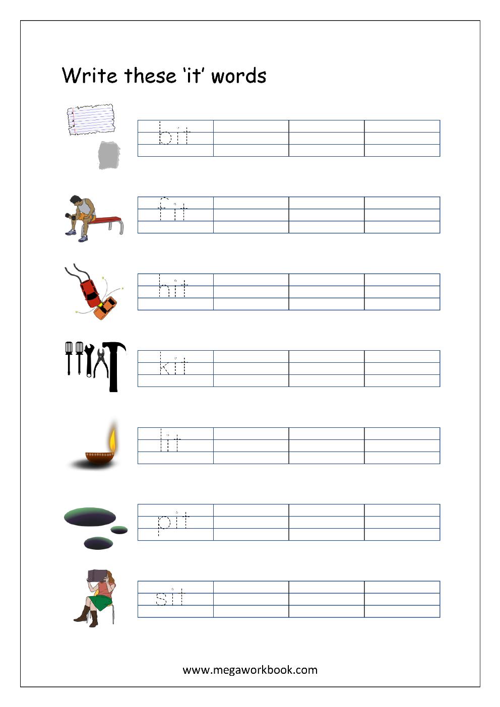 Free Printable Cvc Words Writing Worksheets For Kids
