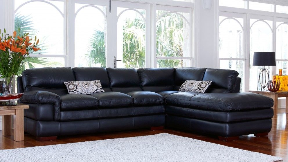 Radcliff mk2 leather corner lounge with chaise lounges - Harvey norman living room furniture ...