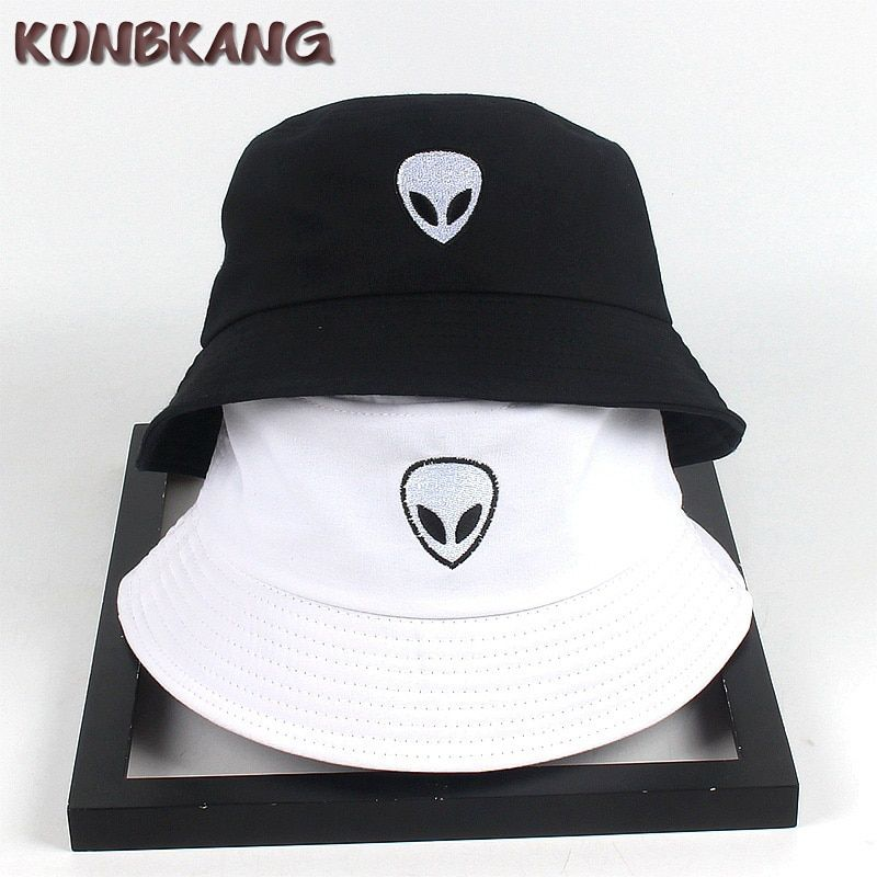 a291695f New Cotton Embroidery Alien Bucket Hat Summer Outdoor Panama Fisherman Cap  Men Women Hip Hop Bob