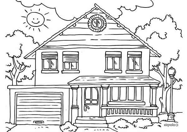 House Front Yard In Houses Coloring Page Netart House Colouring Pages Free Printable Coloring Pages Free Coloring Pages