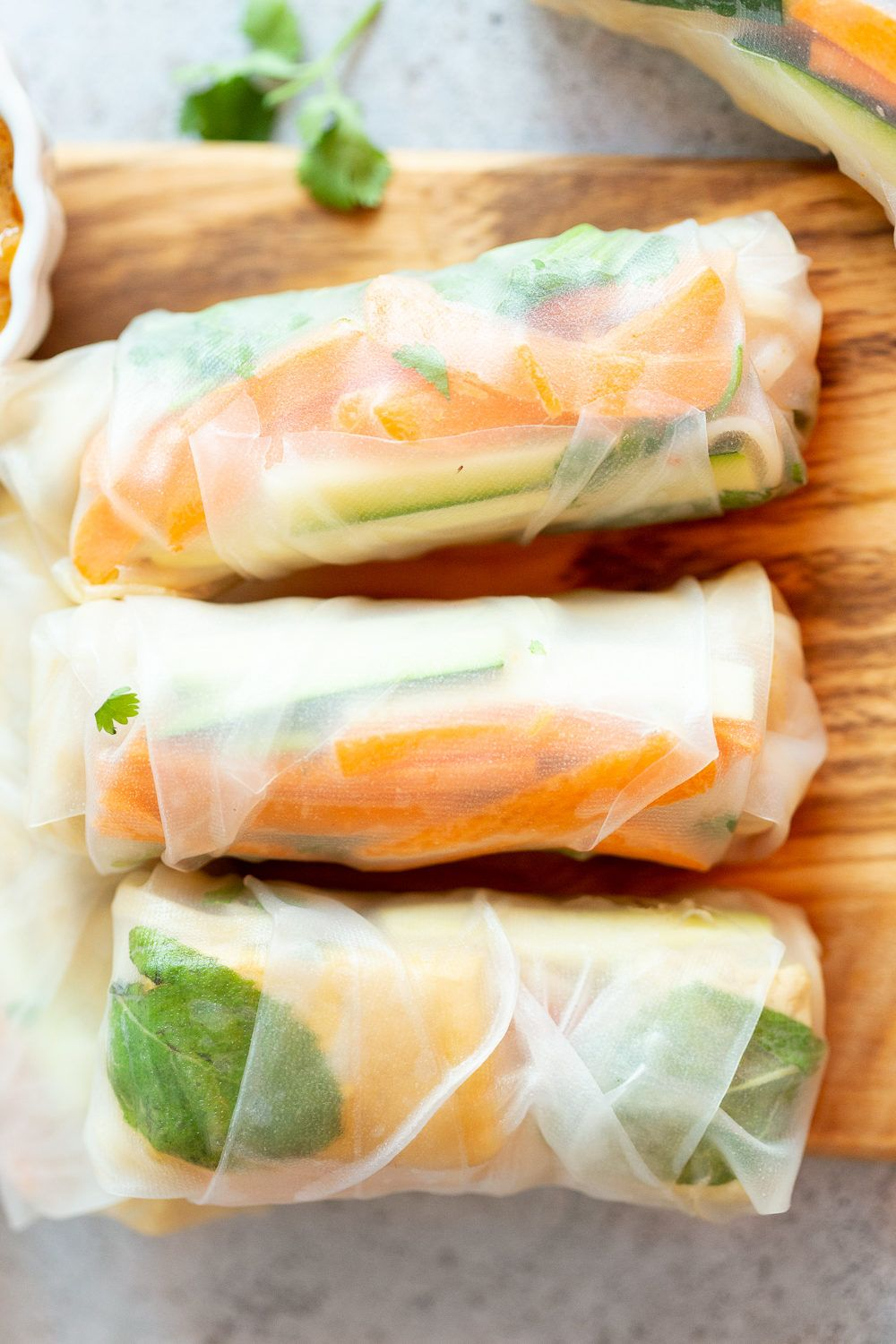 Vegan Fresh Spring Rolls With Peanut Sauce