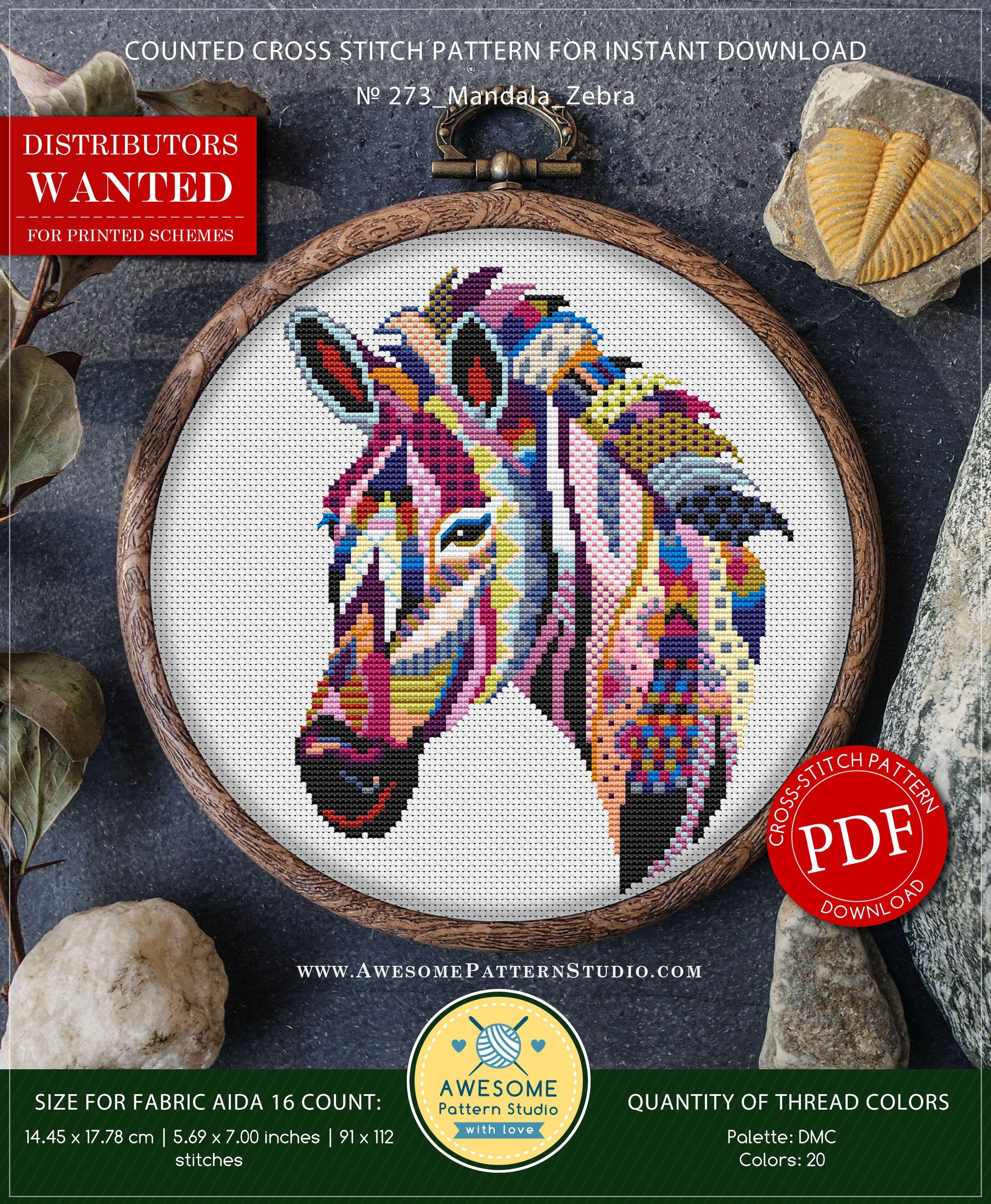 Mandala Zebra P273 Cross Stitch Embroidery Pattern Instant