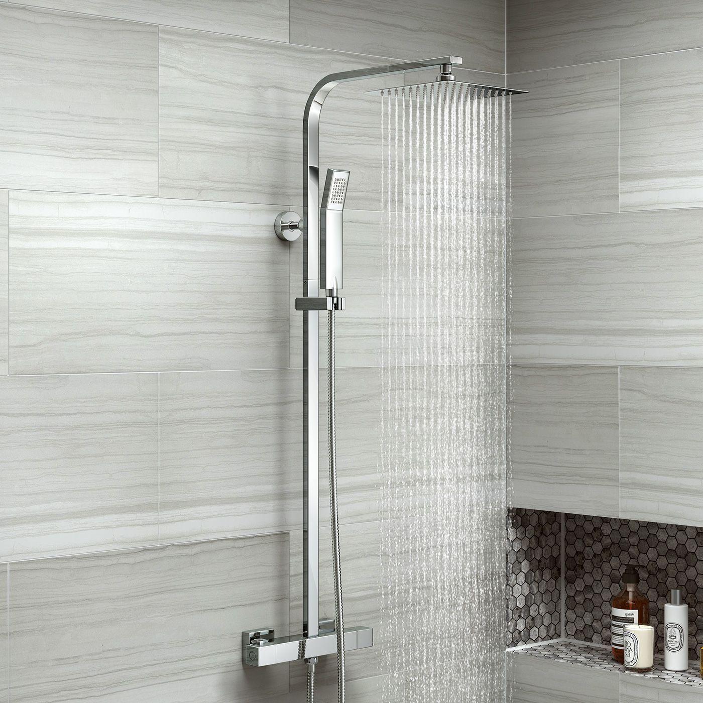 200mm Square Head Thermostatic Exposed Shower Kit - soak.com | Loft ...