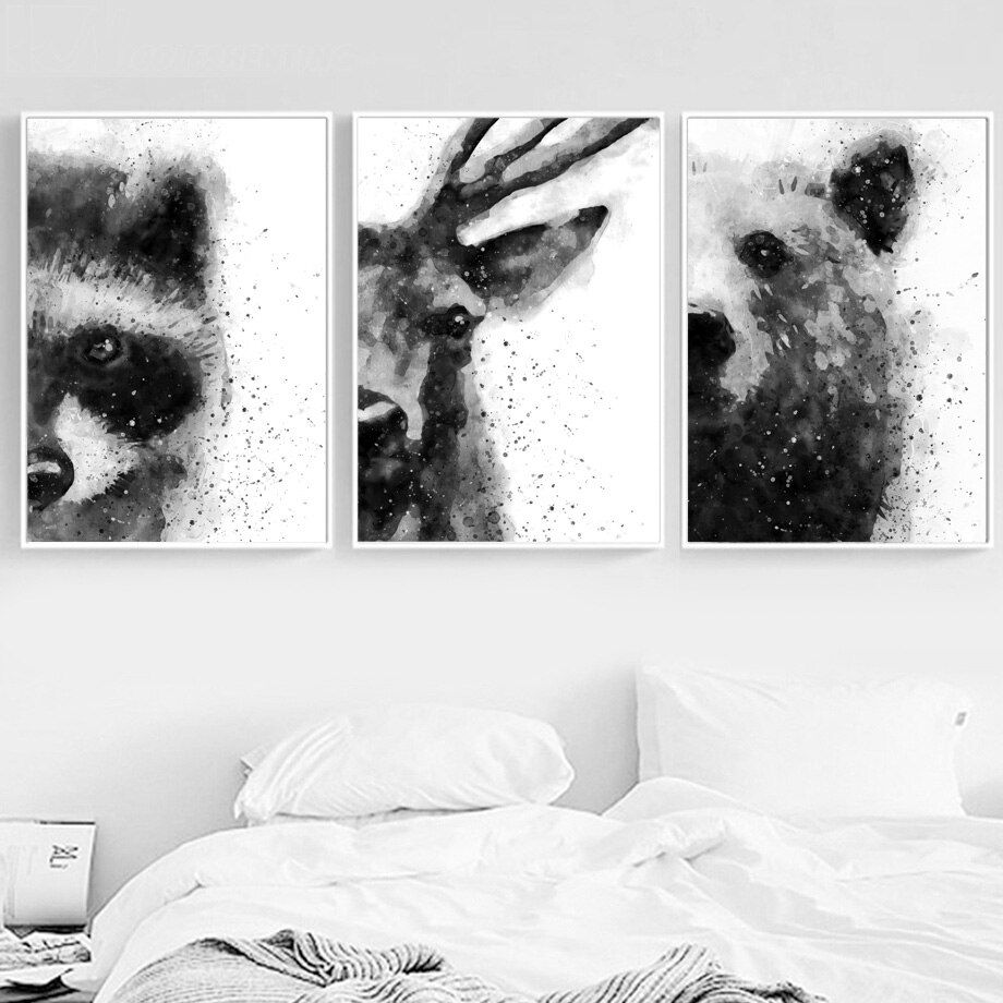 Fluffy White Wolf Animal 5 Pc Canvas Wall Art Picture Poster Home Decor